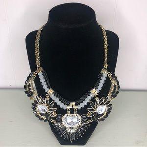 Black Jewel Gold Chain Statement Necklace